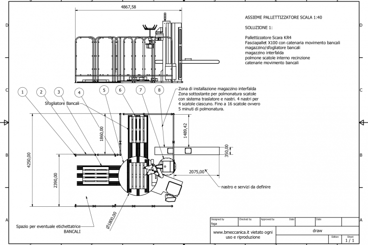 Layout study with wrapping machinery